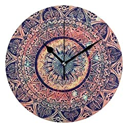 IVERS Boho Geometric Floral Print Novelty Art Decorative Round Wall Clock