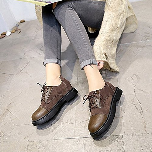 up Shoes Classic Lace Moccasin Round Oxfords Wedge T Women's Shoes Toe Low Khaki Comfy JULY qpwa0A