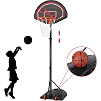 """YAHEETECH 32"""" Youth Portable Basketball Hoop 7-9ft Adjustable Height Basketball Stand Backboard System for Indoor Outdoor w/Wheels"""