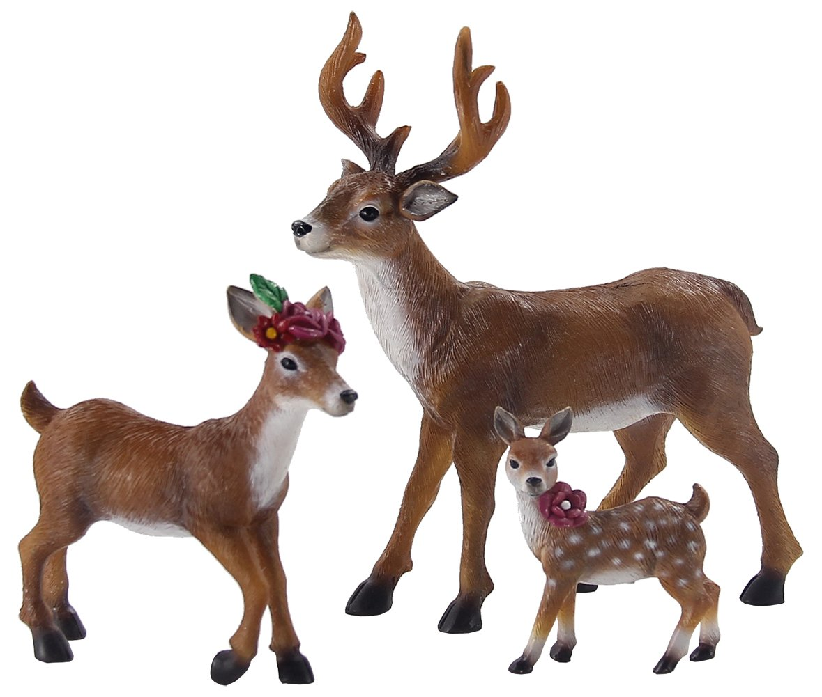 Vintage wedding cake toppers, Deer family figurines Buck Doe Fawn, Woodland themed Wedding Animal Cake Topper or baby shower
