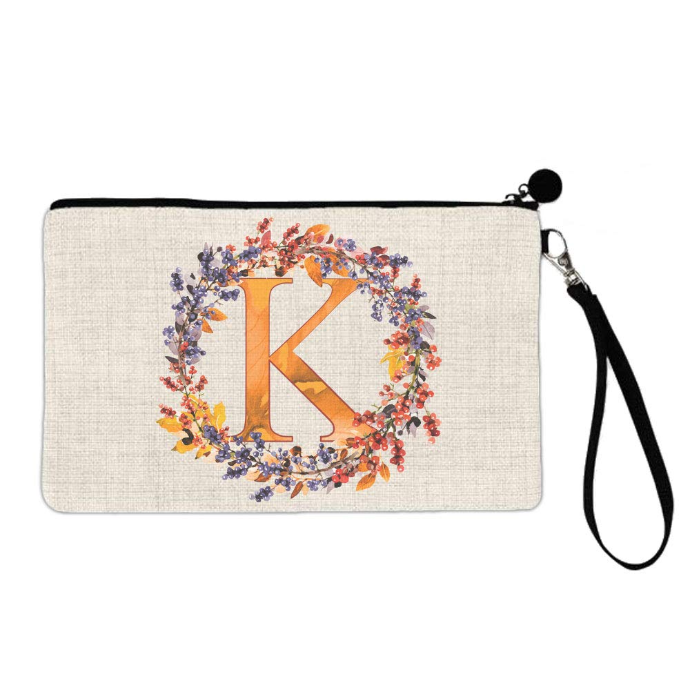 BRGiftShop Beautiful Autumn Wreath Monogram Letter K Large Linen Cosmetic Bag with Zipper
