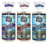 Lundberg Organic Gluten-Free Vegan Rice Cakes 3 Flavor Variety Bundle: (1) Brown Rice Lightly Salted, (1) Brown Rice Salt-Free, and (1) Wild Rice Lightly Salted, 8.5 Oz. Ea. (3 Total)