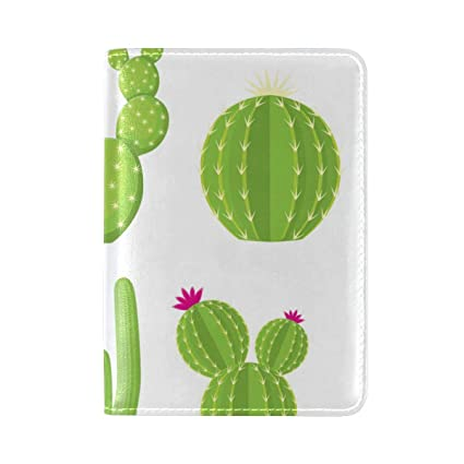 Floral Cactus Succulent Genuine Leather Travel Passport Holder Case Cover Wallet