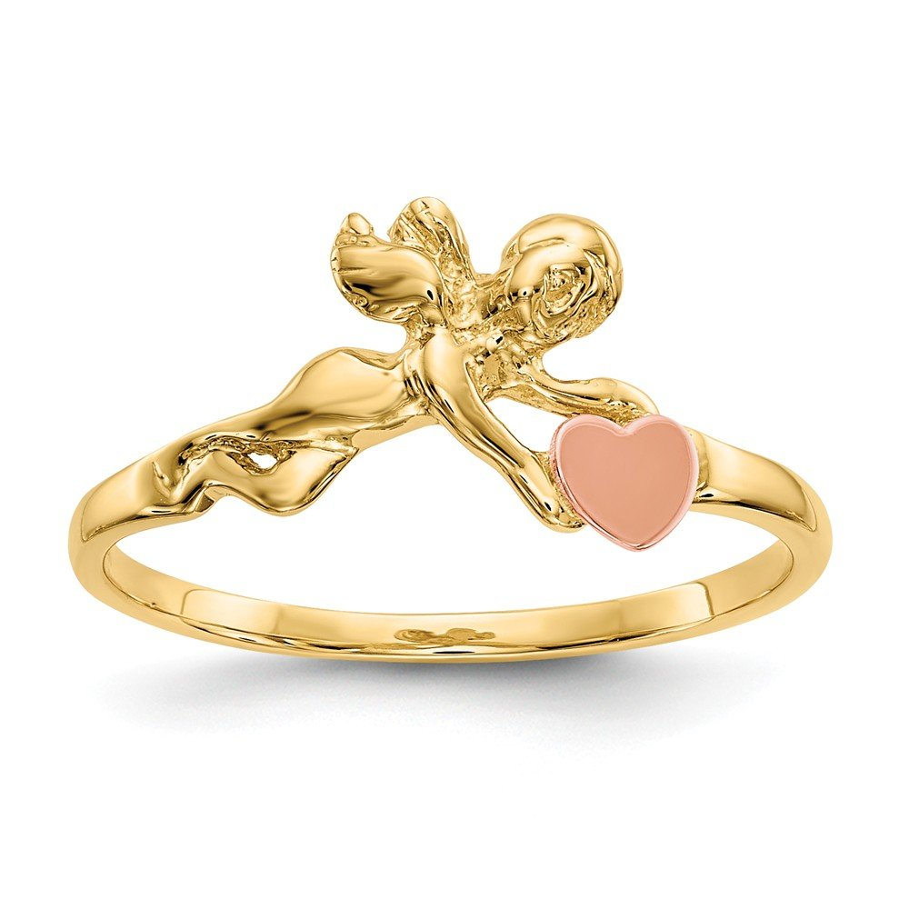 Diamond2Deal 14k Yellow Gold Two-Tone Angel and Heart Ring Fine Jewelry Ideal Gifts for Women
