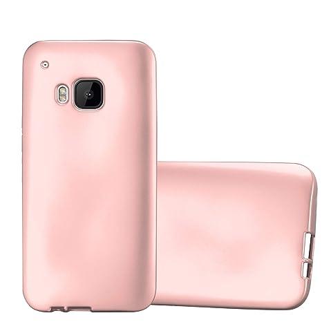 Cadorabo Hülle für HTC One M9 - Hülle in METALLIC Rose Gold – Handyhülle aus TPU Silikon im Matt Metallic Design - Silikonhül