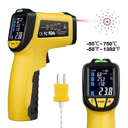 URCERI IR-818 - Termómetro Digital Láser IR, Termómetro Infrarrojo sin Contacto Pistola de temperatura de ...