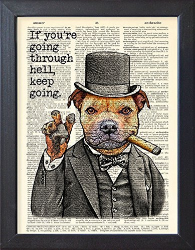 Staffordshire bull terrier poster, victory dog print, Winston Churchill quote, artwork. - Winston Contemporary Print