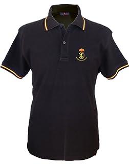 Pi2010 – Polo Patrulla Águila para Hombre, Color Negro, Bandera España en Cuello y Mangas, 100% algodón: Amazon.es: Ropa y accesorios