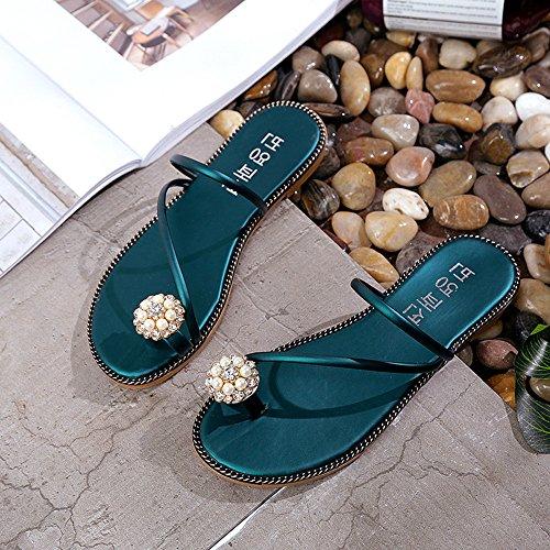 Ularma Los zapatos Peep-toe tacón Rhinestone de las mujeres Flip Flops Verde