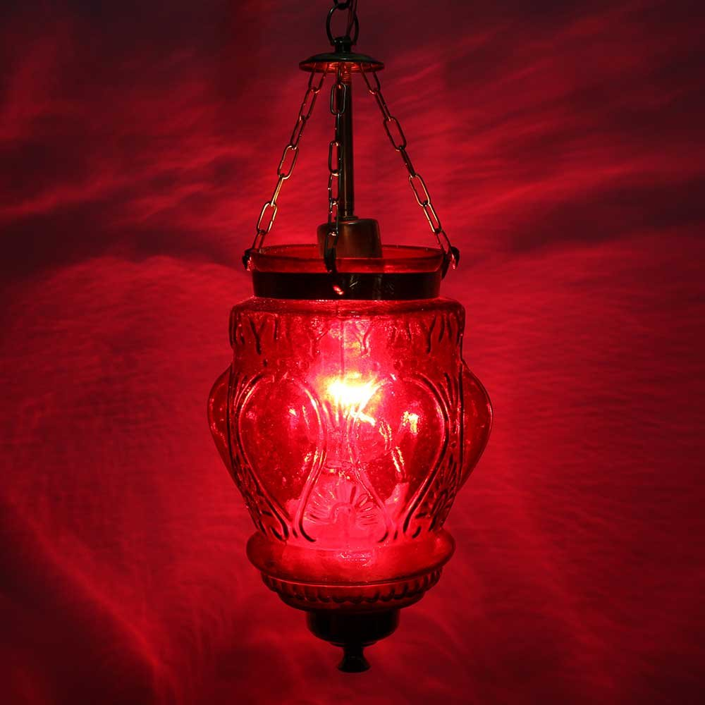 IndianShelf Handmade Decorative Vintage Red Hanging Glass Light Fixture Small Celling Lamp Chandelier