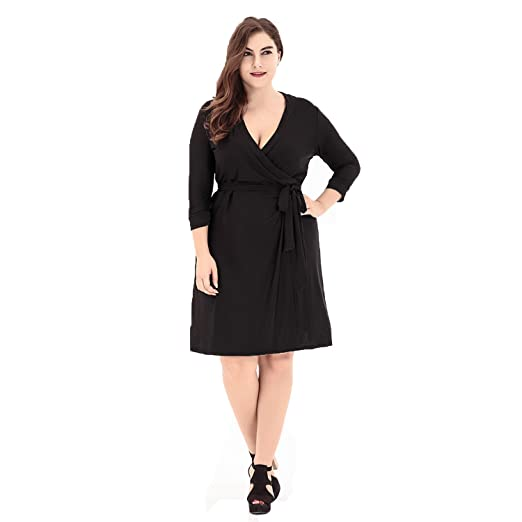 37ca38b413b MBEC Spring Dresses Women Plus Size A Line V Neck Natural Waist with Sash  3 4 Sleeves Short Cocktail Party Dresses (XL-6XL) at Amazon Women s Clothing  store ...