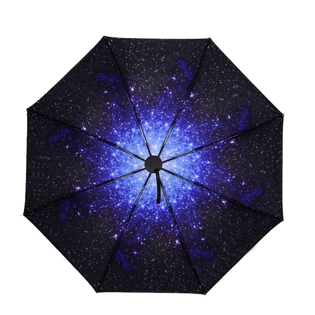 FEI Sombrilla Negra Estrellada Sombrilla soleada Sombrilla Plegable Plegable Creativo Sombrilla Femenina Sombrilla Solar Protector Solar,AAA