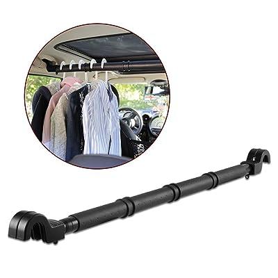LITTLEMOLE Car Clothes Hanger Bar, Expandable Vehicle Clothing Rod Garment Rack Holder, Heavy Duty Metal and Rubber Grips: Automotive