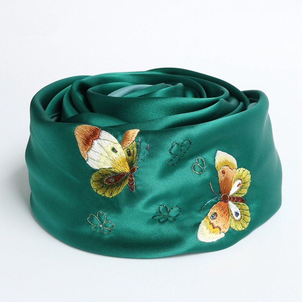 ZZHF weijin Suxiu Silk Scarf Silk Silk Scarf Embroidered Butterfly Little Shawl Spring and Autumn Dual Scarf (bluee) (175  65cm)