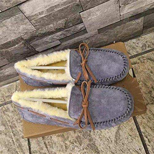 Cuero Arco de Zapatos de Invierno Botas Perezoso de Lana XIE Acolchados Botas para de la Nieve algod wT7qxO5y