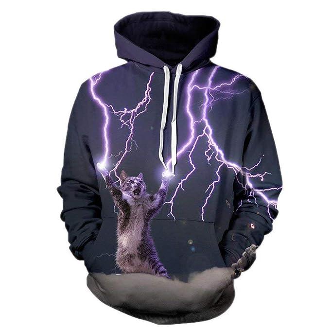 Moda Hombres Ner/Mujeres 3D Gato Sudadera Digital Lightning Impresión Personas Sudaderas Esencial con Capucha Manga Larga Cap Sudadera con Capucha: ...