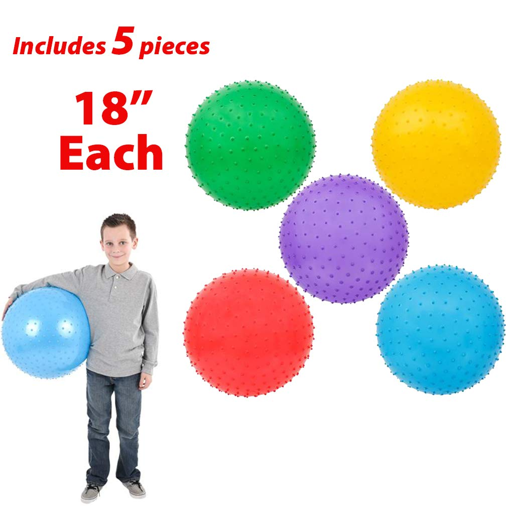 Recess Sold Deflated Knubby Large Balls for Boys and Girls Sensory Integration Toy Assorted Colors Mr Daycare E=mc2 AbbyRose 18 Inch Knobby Ball Pack of 5 Bumpy Ball for Playground