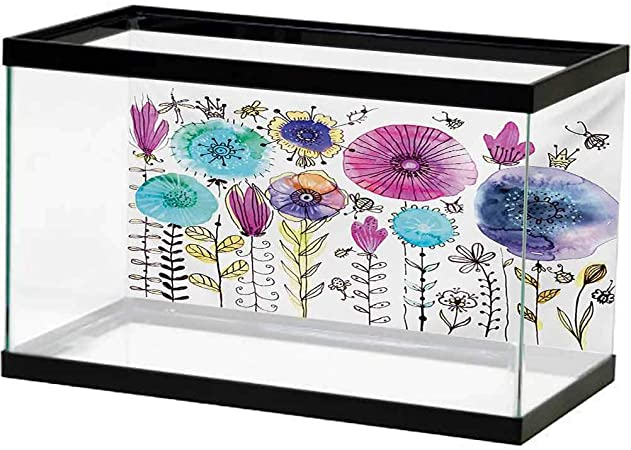 Amazon Com Dragonfly Aquarium Wallpaper Background Hello Summer Concept With Cute Dandelion And Dragonfly Figures Be Happy Artwork Underwater Backdrop Image Decor Pink Blue L60 X H24 Inch Pet Supplies