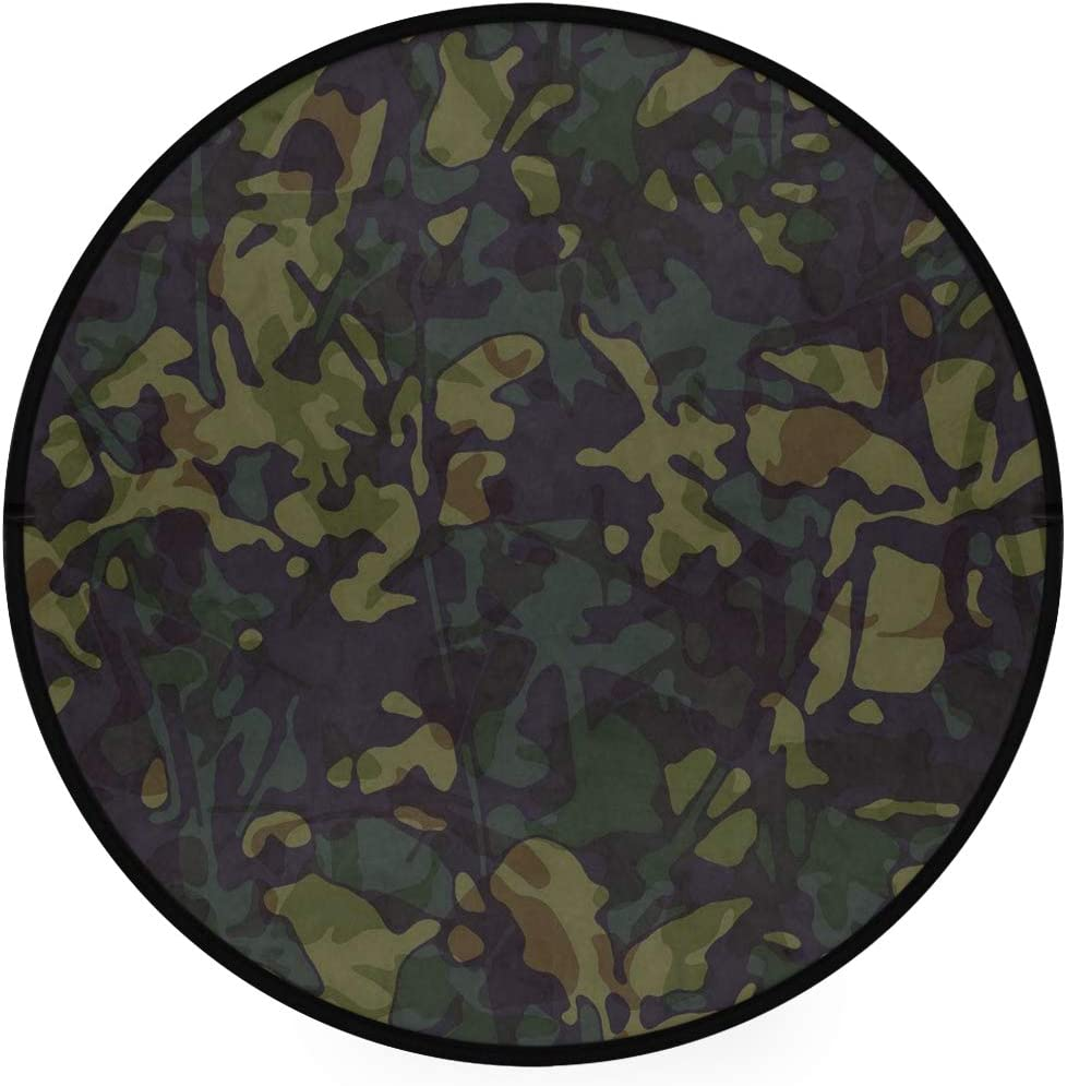 Camo Hunting Mossy Army 36 Inch Round Rug Non-Slip Area Rug Foam Mat Super Soft Carpet Floor Mat Living Room Bedroom