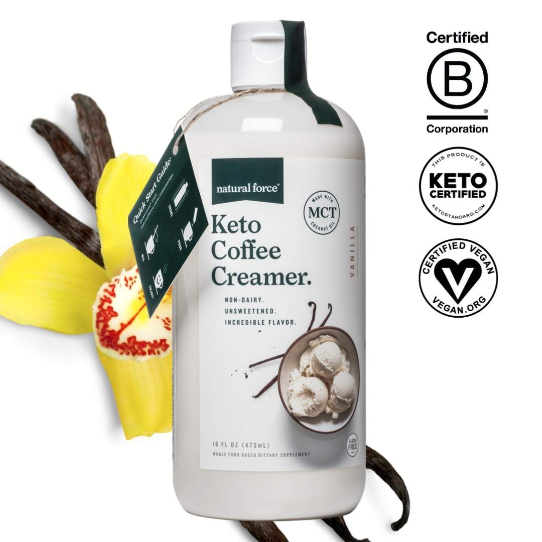Keto Coffee Creamer with MCT Oil, 16oz Creamy Vanilla *Emulsified, No Blending Required* Unsweetened & Dairy Free, C8 & C10 MCTs from Organic Non-GMO Coconuts - NO Palm Oil, by Natural Force by Natural Force