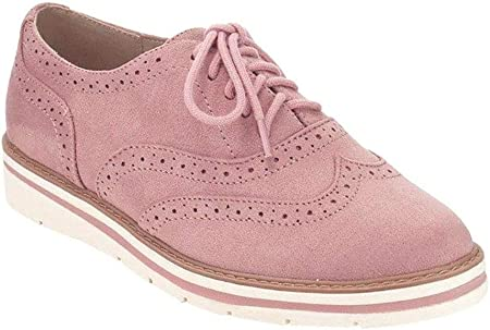 Zapatos Planos con Cordones Mujer Brogue Zapato Talón Plano Gamuza Colores Manera Tallas Grandes Botas Negro Rosa Gris Azul Marrón 35-43 Rosa 37