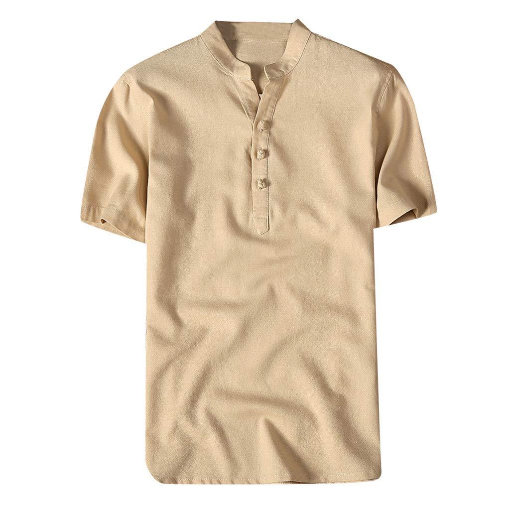 Shirt for Men, F_Gotal Men's T-Shirts Fashion Summer Short Sleeve Retro Chinese Style Linen Henley Tees Blouse Tops Khaki