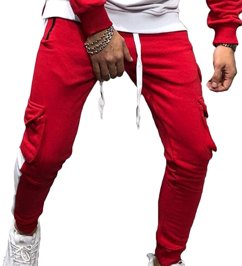Frieed Men Solid Patchwork Sports Elastic Waist Casual Stretch Knit Lounge Pants with Pockets