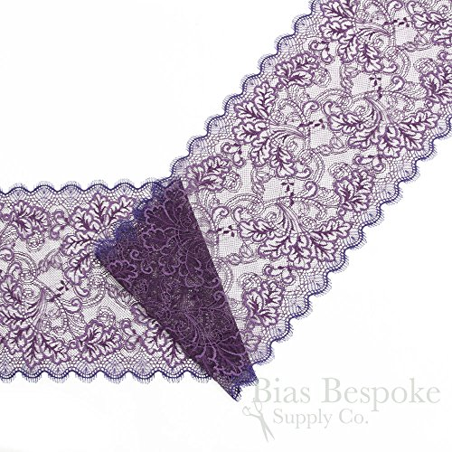 "8"" Wide Two-Tone Purple Stretch Leavers Lace Trim, Made in France, Sold by the Yard"