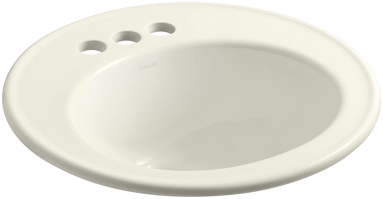 KOHLER K-2202-4-96 Brookline Self-Rimming Bathroom Sink, Biscuit