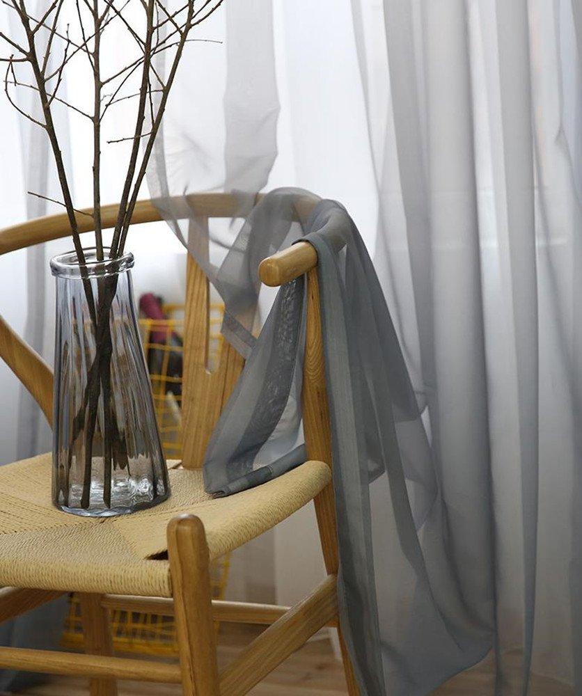 140B/×245H cm, Blanc+Gris SearchI 1 St/ück Rideaux Voilages Solide /à Pattes pour Cuisine Rideau de Fen/être Salon Chambre Rideaux