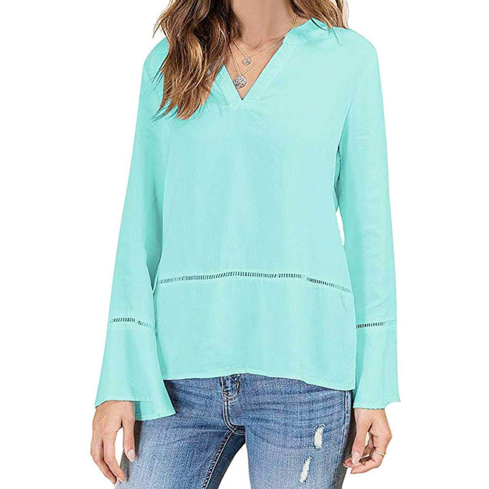 NRUTUP Shirts for Women, Women's Casual V-Neck Flare Long Sleeve Solid Blouse Tunic Top Tee Shirt.(Light Blue,M)