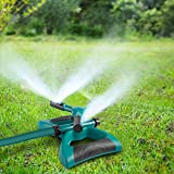 Garden Sprinkler, 360° Rotating Adjustable Lawn Sprinkler Irrigation System with Leak Free Design, Easy Hose Connection Garden Irrigation for Lawn, Courtyard, Garden (Advanced)