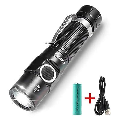 2 en 1 Multifunci/ón Mini USB recargable linterna LED linterna Pen linterna
