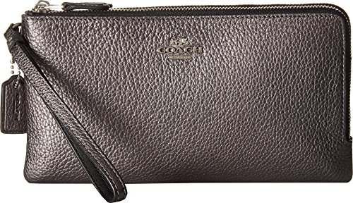 COACH Women's Double Zip Wallet in Metallic Leather Sv/Metallic Graphite One Size by Coach