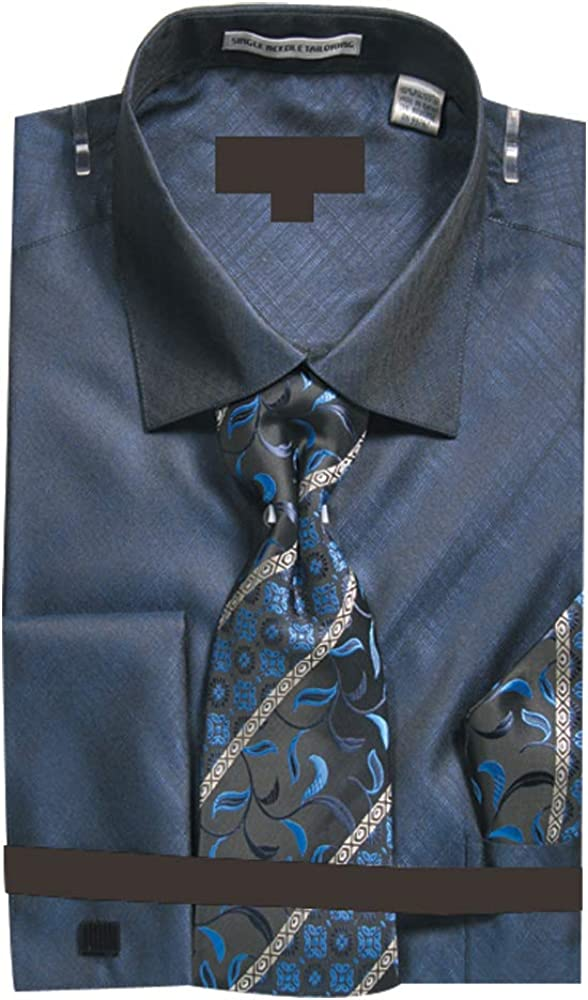 Sunrise Outlet Men's Metallic French Cuff Dress Shirt w Tie Hanky Cufflinks