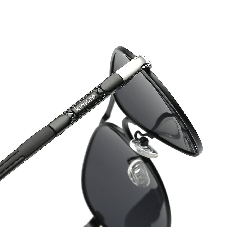 Kimorn Polarisé Lunettes De Soleil Hommes Rétro Métal Cadre 5 Couleurs Des lunettes K0553 (Argent&Noir) 19sVL0