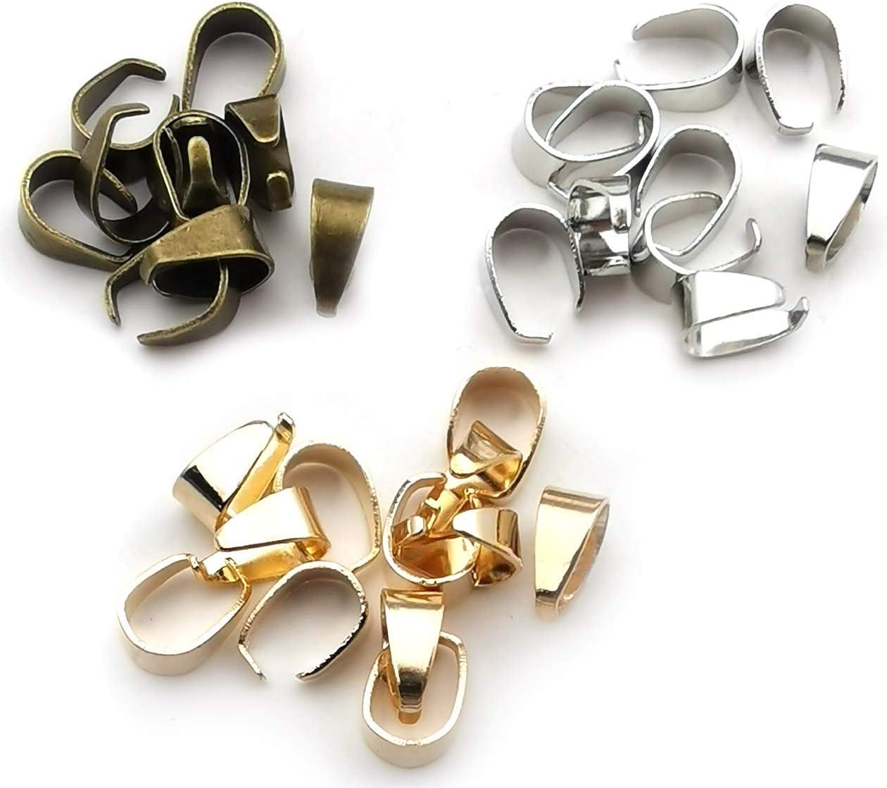 300pcs Metal Pinch Clip Clasp Bail Metal Finish Necklace Clasps Pendant Clasps Claw Bail,Pendant Clasps Pinch Clip Clasp Bail for Necklace c8634 KC Gold