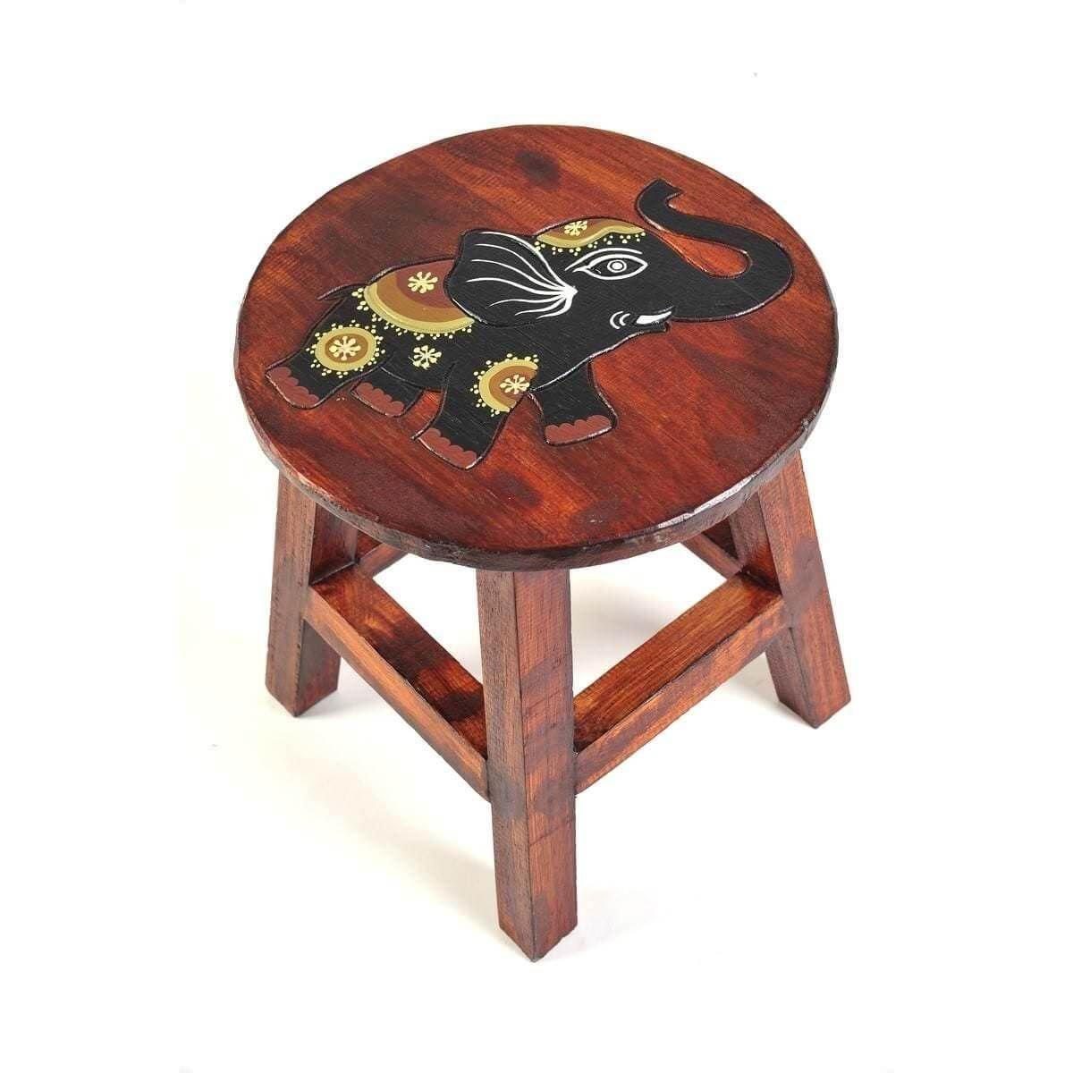 Simandra Sgabello in legno, motivo scimmia marrone