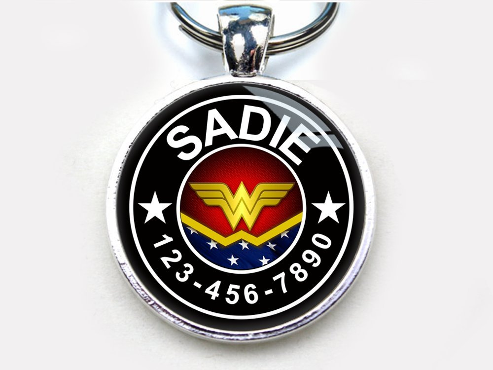 Wonder Woman Custom pet ID Tag dog tag cat pet tag (Large 1.5'')