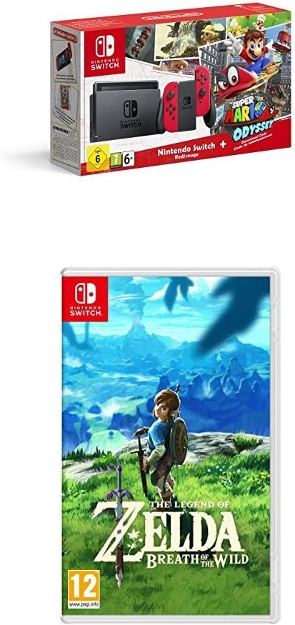 Nintendo Switch - Consola + Super Mario Odyssey Bundle (Código Descarga) + The Legend Of Zelda: Breath Of The Wild: Amazon.es: Videojuegos