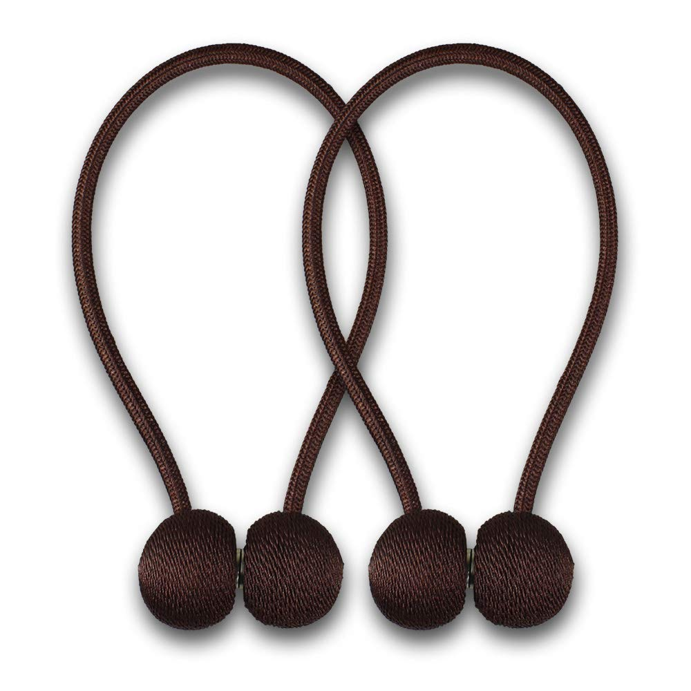 AMAZDN Curtain Tiebacks Magnetic Curtain Holdbacks for Draperies,Sheer Panels and Blackout Without Drilling 1 Pair (Dark Coffee)