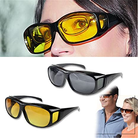 e4abfa0842 Buyerzone Night Vision Glasses Anti-Glare Polarized Women s Men s Sunglasses  For Night Driving  Amazon.in  Health   Personal Care