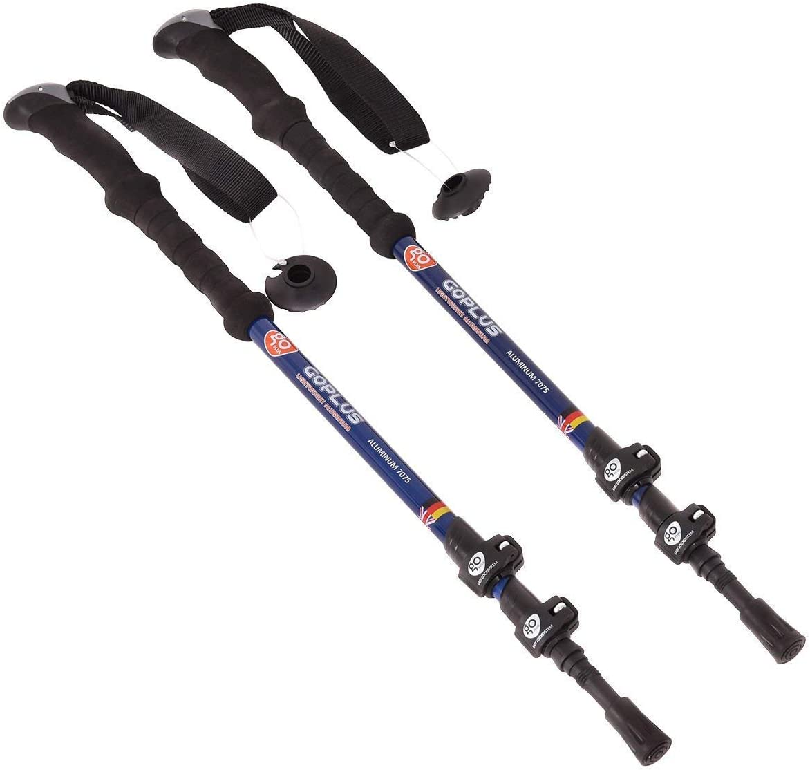 Goplus 1 Pair Trekking Poles Walking Hiking Climbing Sticks Adjustable Anti-Shock Alpenstock 2 Pack