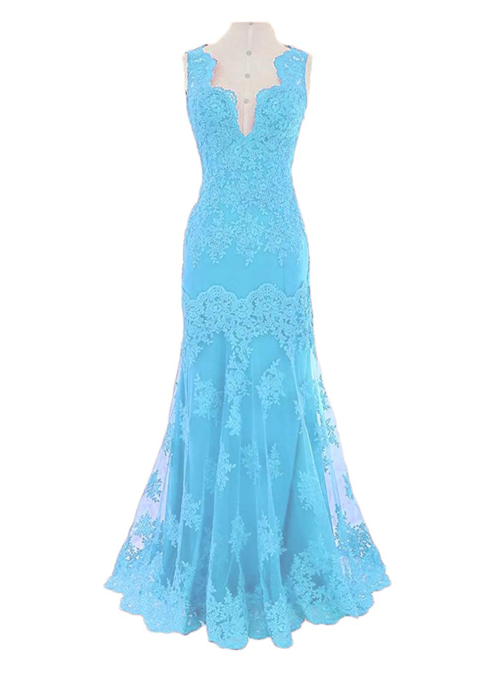 bluee alilith.Z Sexy V Neck Prom Dresses Mermaid 2019 Appliques Lace Long Formal Evening Dresses Party Gowns for Women