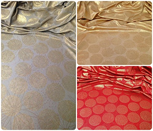 Pale Gold Shimmery Foil Big Dots & Floral Suds Pattern on Stretch Lightweight Slinky Polyester Spandex Fabric By the Yard (Gold/Gold) Dot Slinky