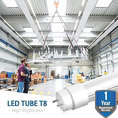 100 Pack LED T8 Tube Light Bulbs 4FT 4 Foot G13 Base 18W 6500K 2000 Lumens (45W Equivalent) Milky Lens Lighting Dual Ended Ballast Bypass Fluorescent Industry Warehouse Shop Garage Replacement …