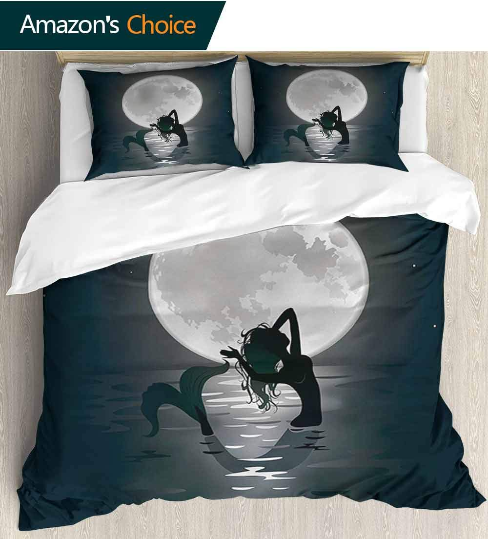 Underwater Home 3 Piece Print Quilt Set,Mermaid Singing at Night Silhouette Full Moon Rays Mythical Ornament Art Print Patterned Technique King Quilt Set(104'' W x 90'' L) Black Grey