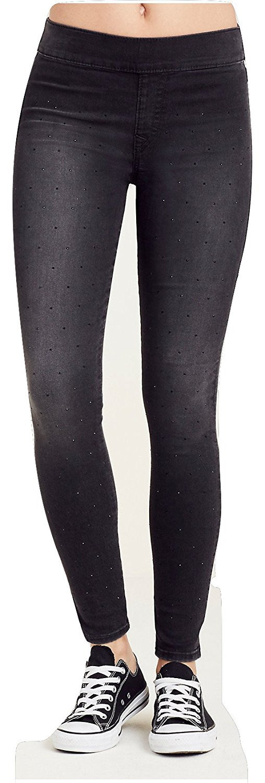 True Religion Women's Starlet Legging Super Skinny Leg Pants in Black Years Away (X-Large, Black Years Away)