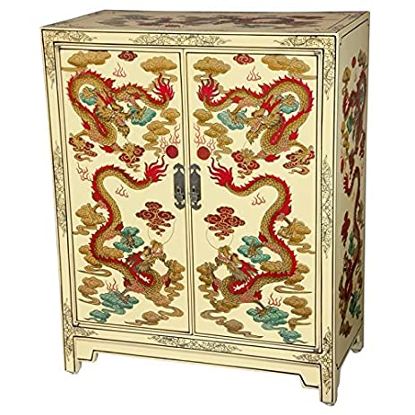 Amazon.com: Oriental Furniture Ivory Dragons Lacquer Shoe Cabinet ...