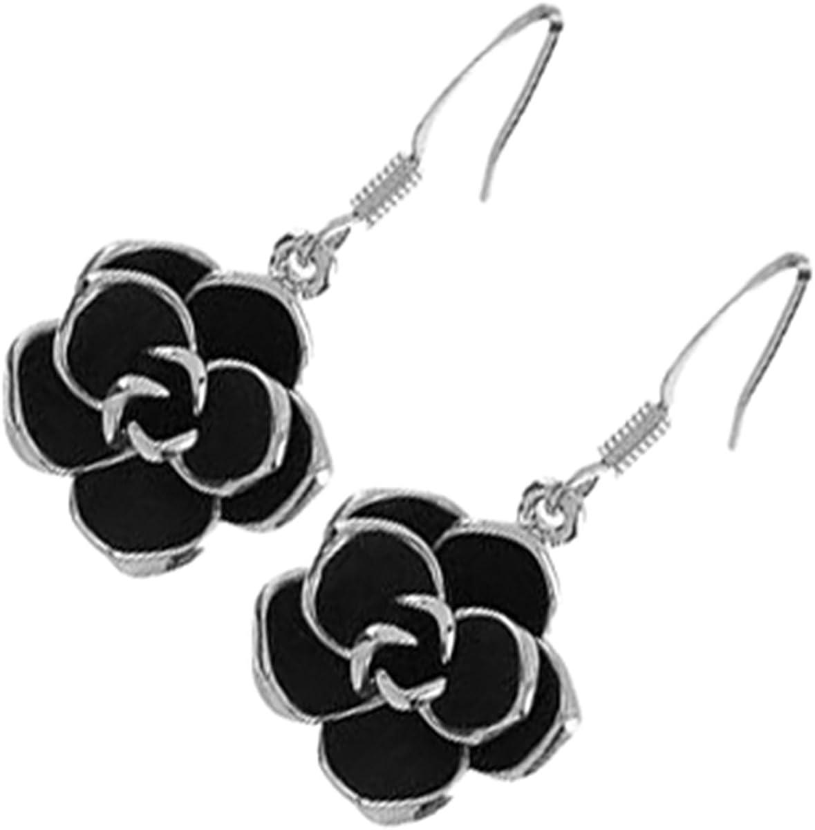 GWG Jewellery Pendientes Mujer Regalo Pendientes Colgantes, Chapados en Plata de Ley Flor de Rosa con Hojas Negras para Mujeres
